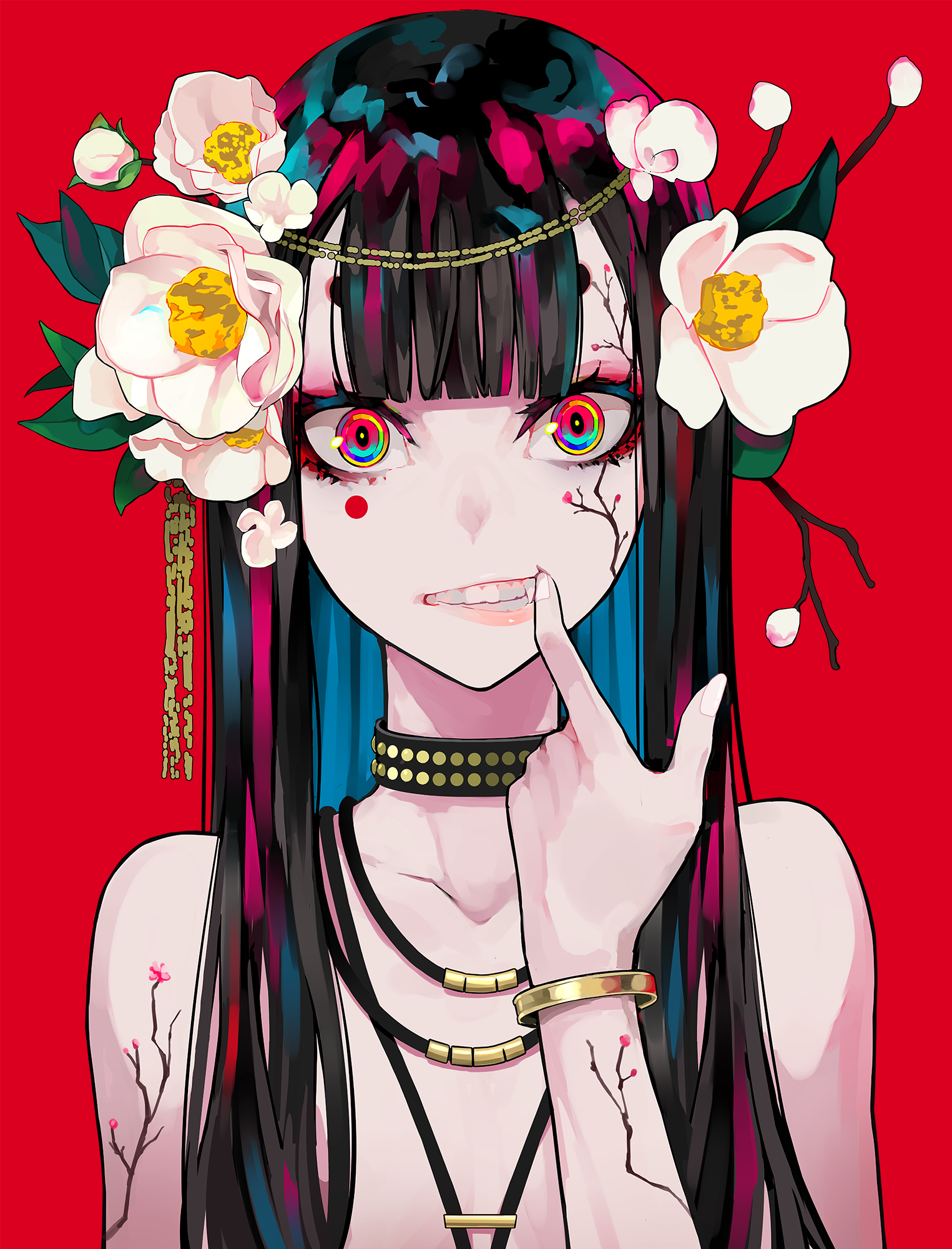 Anime 1525x2000 Women Portrait Display Artwork Digital Art 2d Looking At Viewer Fangs Flower In Hair Necklace Long Hair P Anime Art Girl Anime Art Kawaii Anime