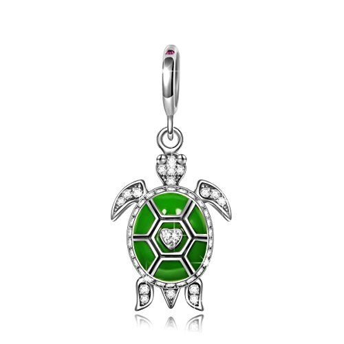 Ninaqueen 925 Sterling Silver Green Enamel Ocean Turtle