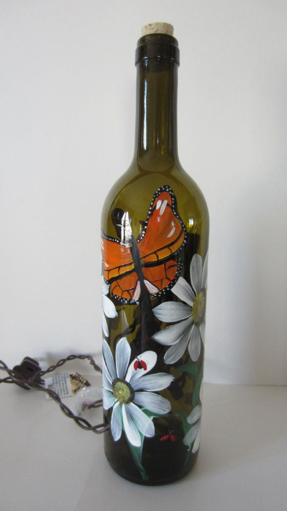 Butterfly, Daisy, Lady Bug, Amber Lighted Wine Bottle on Etsy