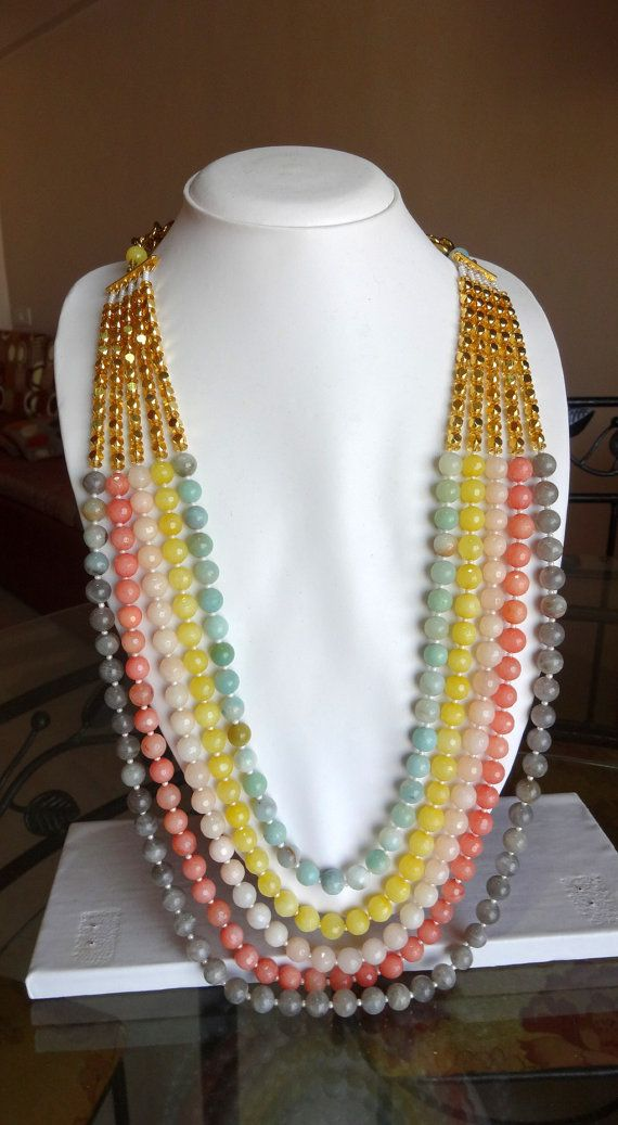 Brand new Indian Ethnic Beaded Necklace With Jaipur semiprecious beads by  VM19