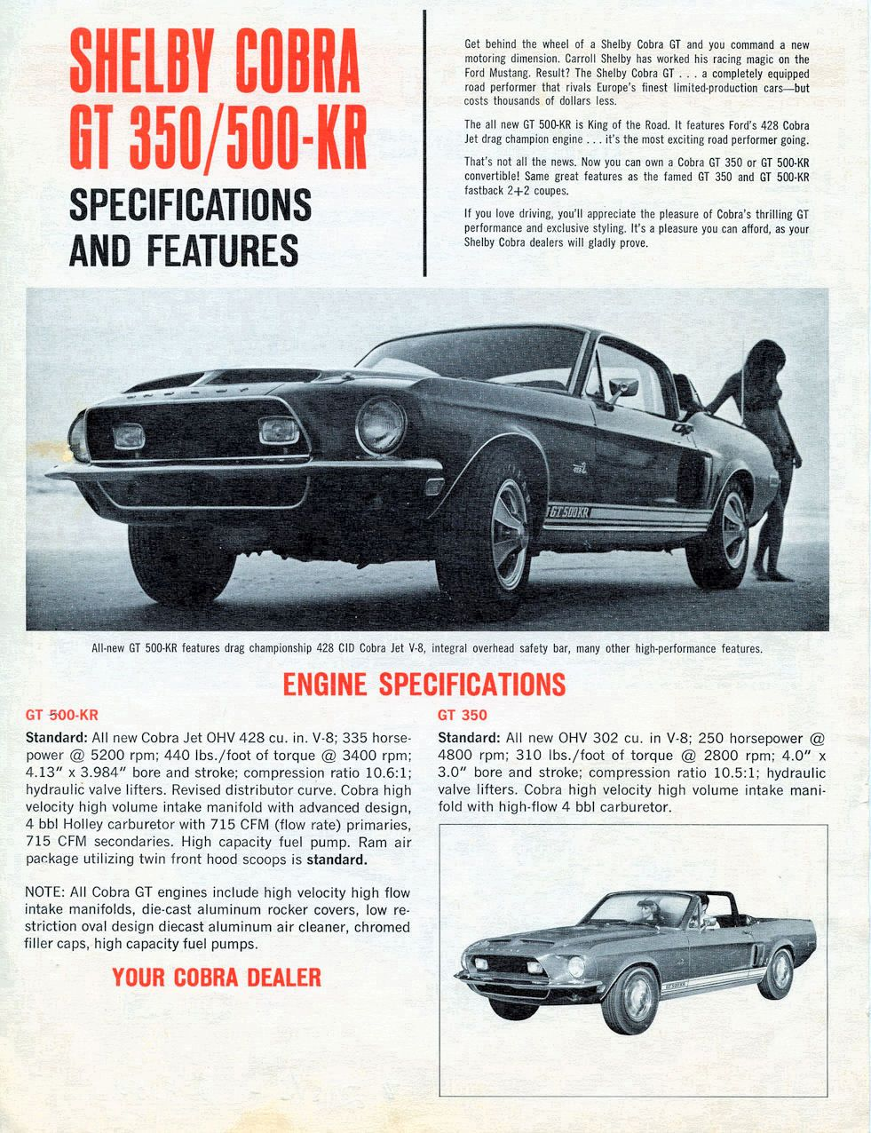 1968 Ford Cobra 350//500  Refrigerator Magnet