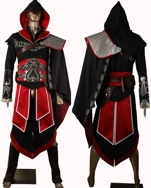 AC Brotherhood Ezio Auditore Hoodie Outfit Halloween Carnival Comic-con Anime  Men Adults Christmas Cosplay Costume 7f903fa15