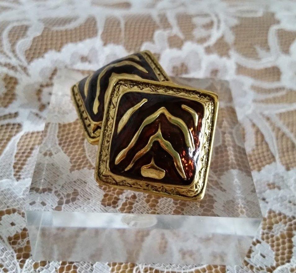 Premier Design Clip Bronze/Gold Tone Zebra Striped Statement Earrings CL07-06A #PremierDesigns #Clip