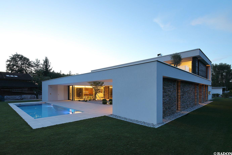 Anspruchsvoll Dachterrasse Auf Flachdach Bauen Ideen Von , Pool, Flachdach, Steinfassade, Panoramafenster, Dachterrasse, Fliesenboden,