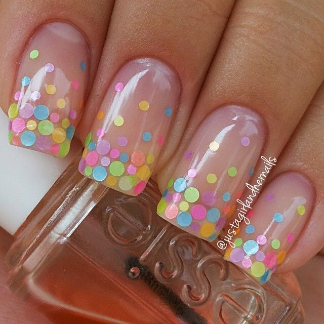 30 best polka dots nail art ideas dot nail art confetti and nude. Black Bedroom Furniture Sets. Home Design Ideas