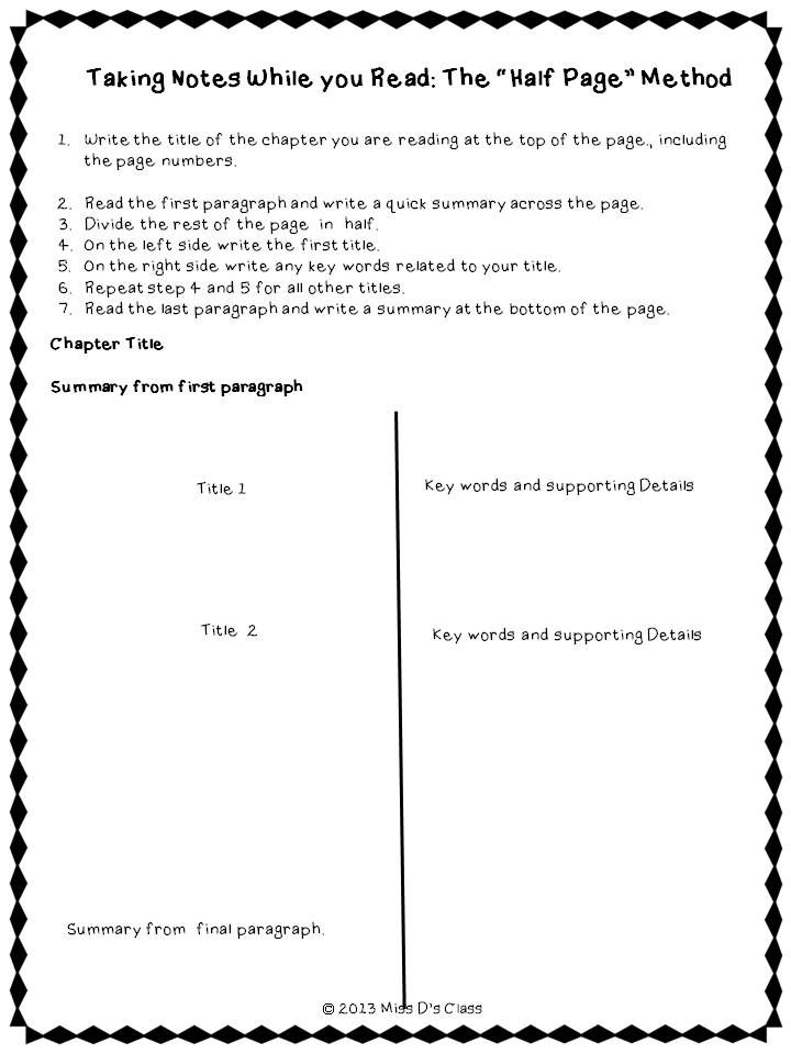 Study Skills Graphic Organizers Note Taking Edition