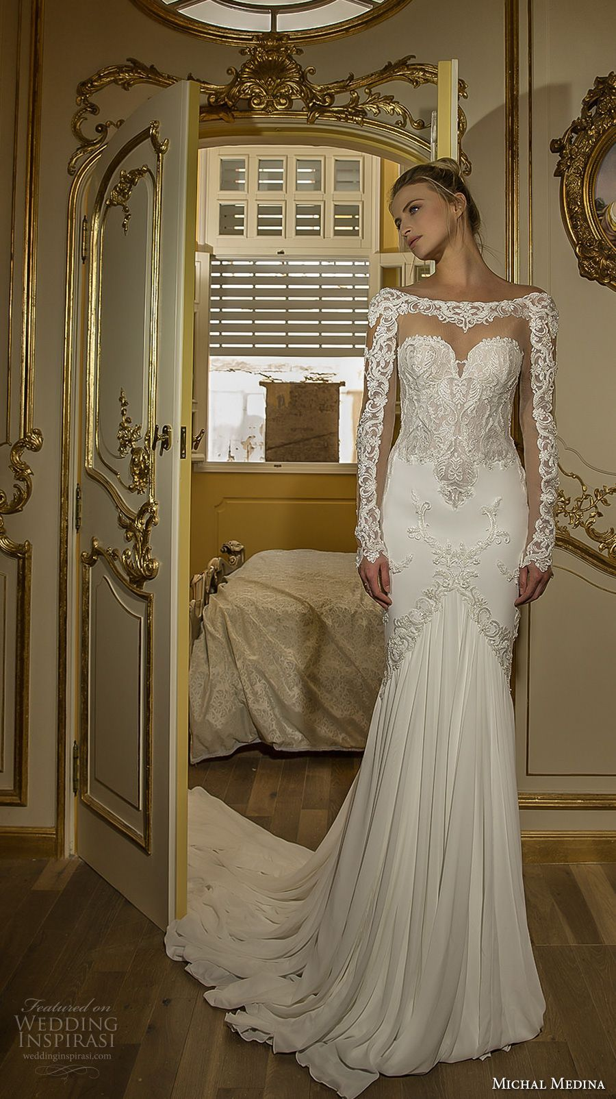 Lace fit and flare wedding dress with sleeves  michal medina  bridal long sleeves illusion beateau sweetheart