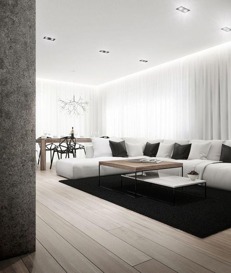 30 Black White Living Rooms That Work Their Monochrome Magic: Sala Minimalista, Decoración De Unas Y