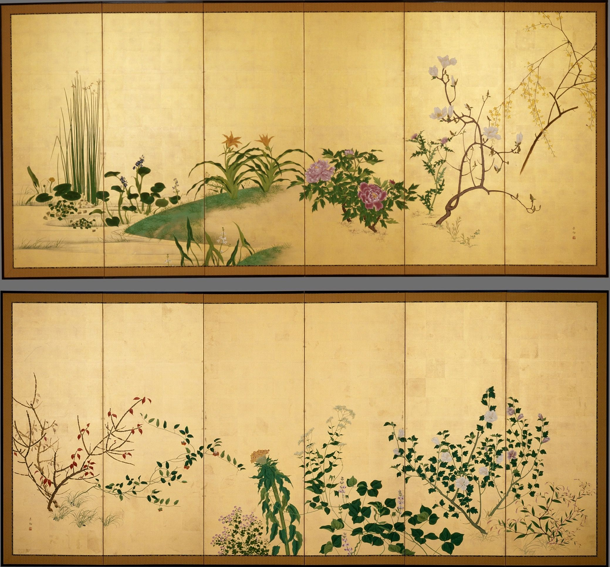 Flowers and Plants of the Four Seasons. Yamaguchi Soken (Japan, 1759 ...