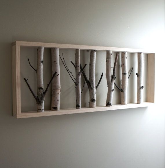 white birch forest wall art 36 x 12 birch branch decor birch log wall hanging modern. Black Bedroom Furniture Sets. Home Design Ideas