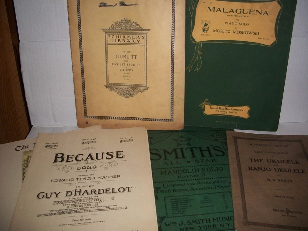 Antique Sheet Music Lot Of 5 Items 1898 To 1925 VG Condition