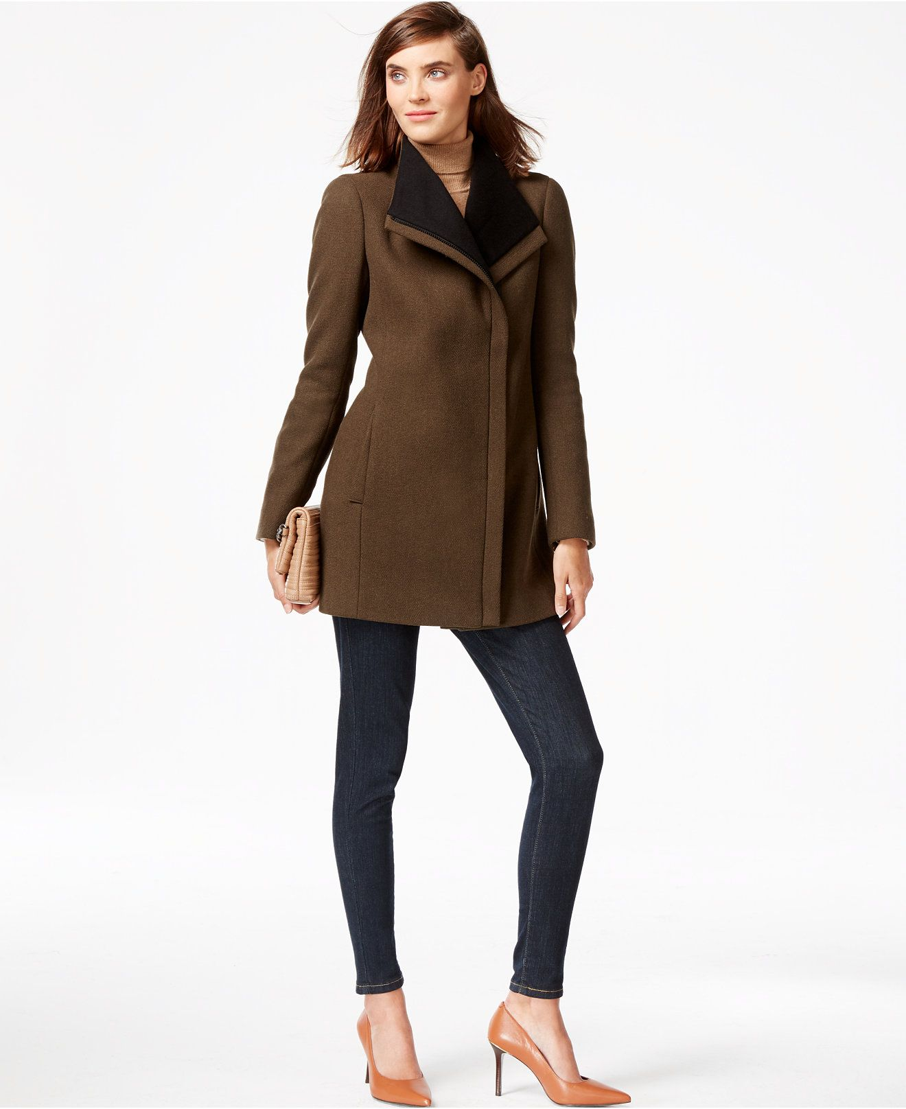 Calvin Klein Colorblocked Asymmetrical Walker Coat Coats Women Macys