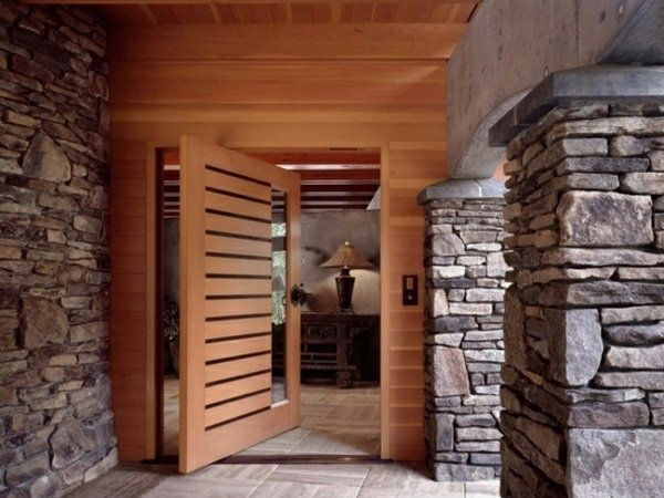 House Entrance modern house front door wood glass stone slabs house entrance