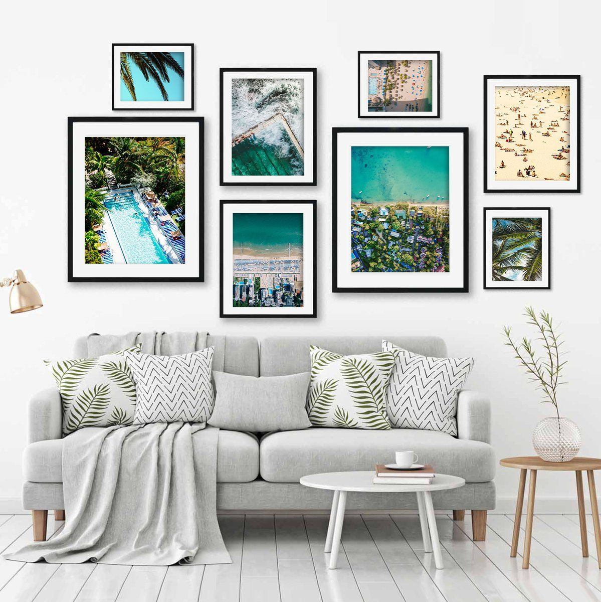 Adorn Your Walls With This Stunning Beach Print Set This Gallery Wall Contains Eight Fine Ar Gallery Wall Living Room Wall Art Prints Living Room Gallery Wall