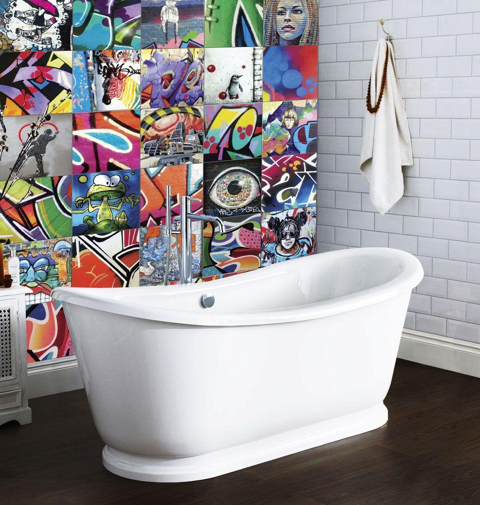 Graffiti wall tiles - Free Standing Graffiti Ceramic Tile Create A Feature Wall Behind The Bath Tub