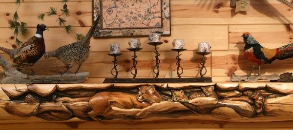 Cabin decor, Hand Carved Fireplace Mantels, Juniper Log Decorative ...