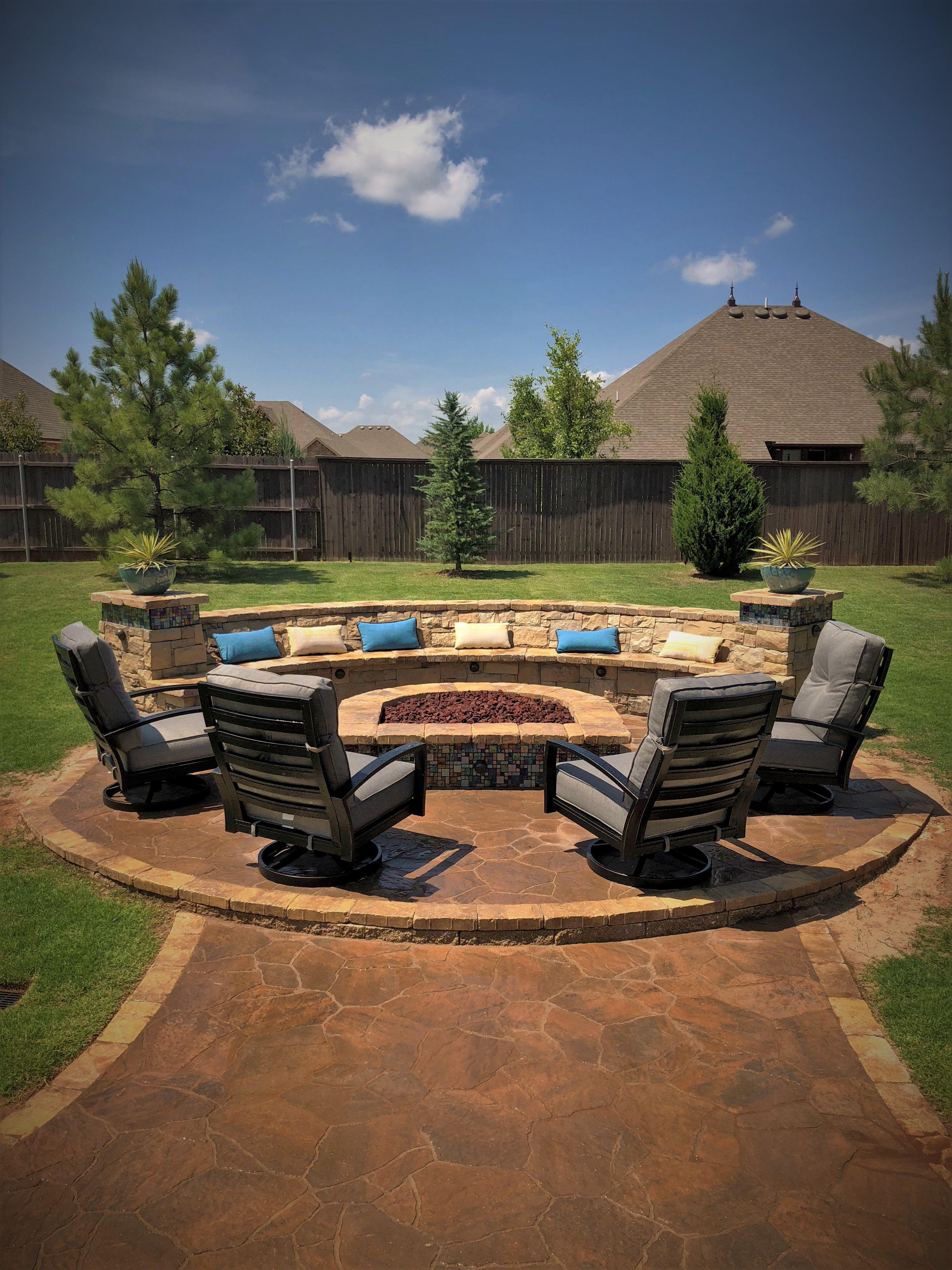 Custom Fire Pit Glass Tile inlay Paver patio Outdoor