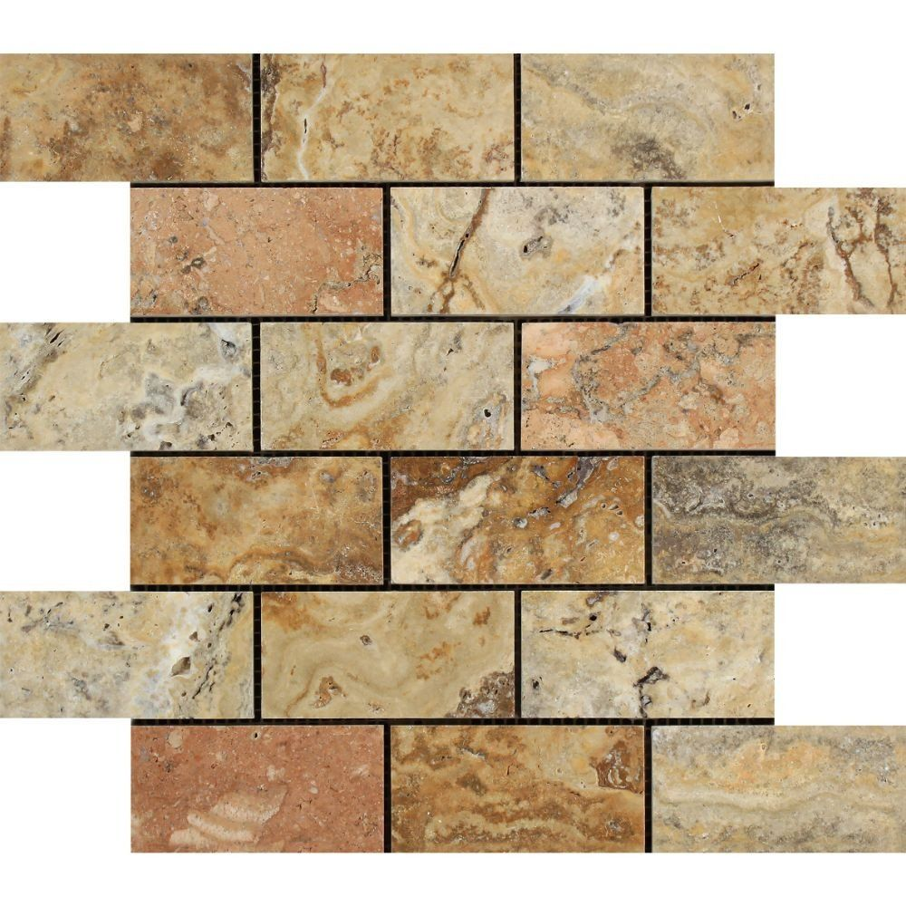 2 x 4 Polished Scabos Travertine Brick Mosaic Tile in 2020