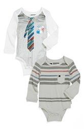 Quiksilver 'Shallow End' Long Sleeve Bodysuit (2-Pack) (Baby Boys) nordstroms