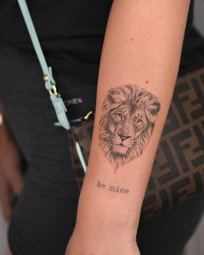 Lion Head Tattoo Inked On The Left Forearm Lion Head Tattoos Small Lion Tattoo Head Tattoos