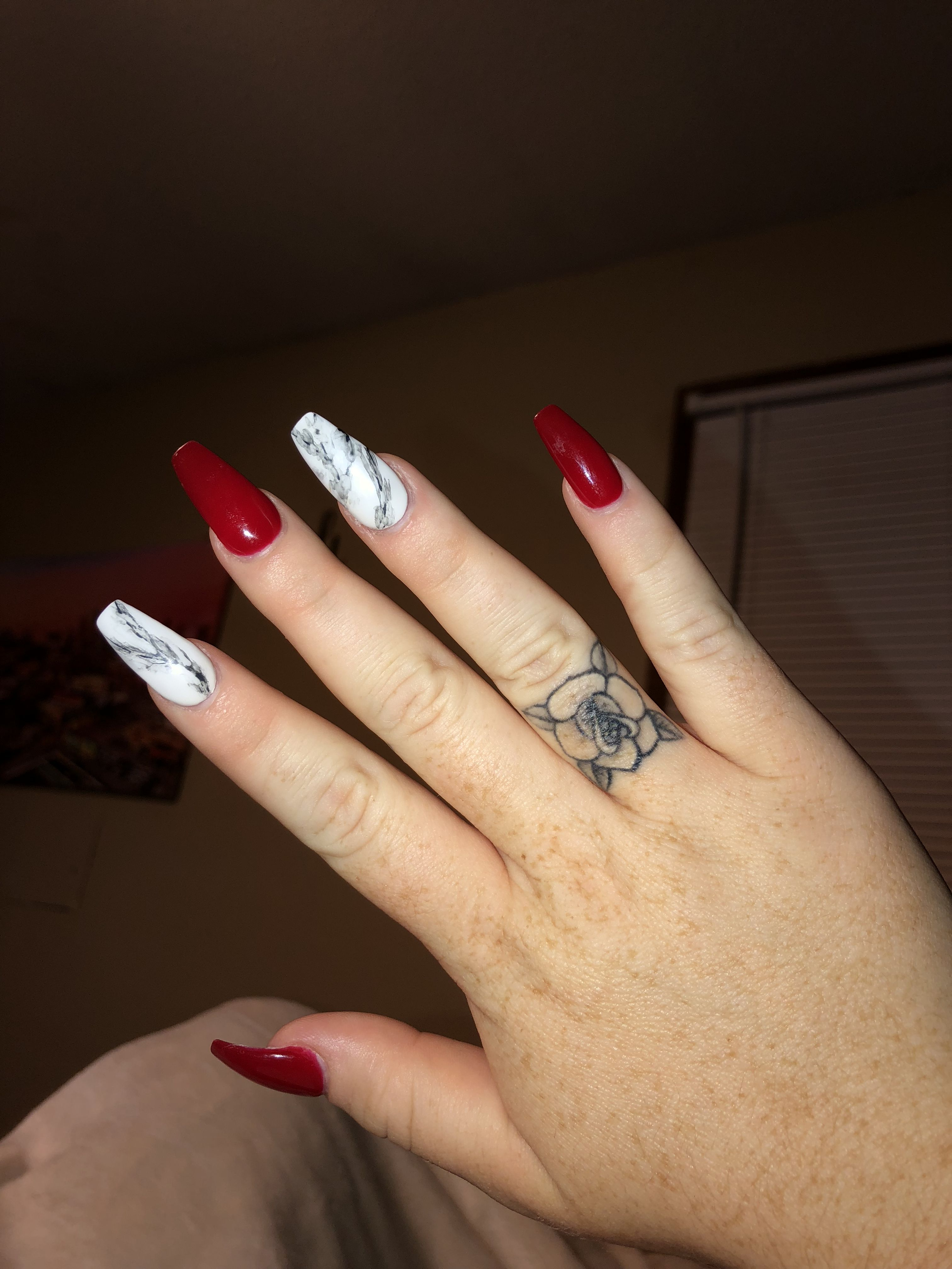 Long Acrylic Coffin Nails Red Acrylic Nails White Acrylic Nails Black Marble Nails