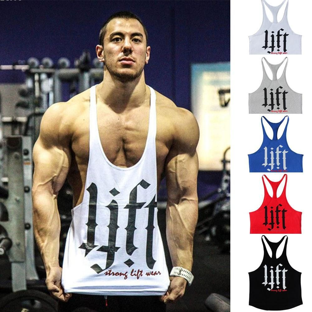 2055df3e2c47c Letter print Fitness Men Body building Gym Tank Top Men Vest Gold Gym  Stringer…
