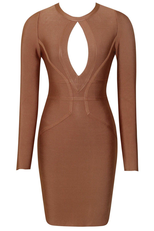 Brown Round Neck Keyhole Cutout Long Sleeve Bandage Dress