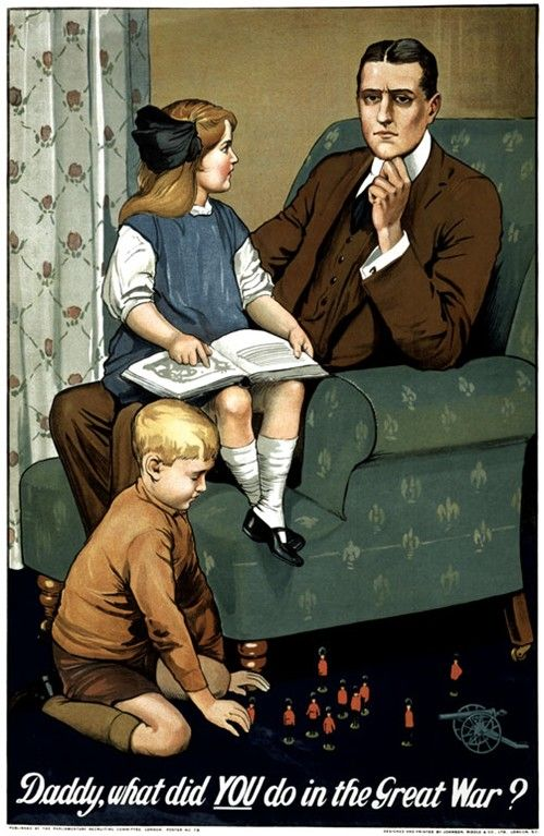 Art print POSTER Canvas daddy what did you do in the great war poster 1910s