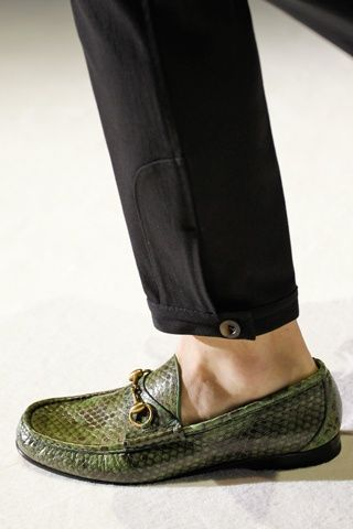 e8da1d48aad Love the detail on the pants   the Gucci Avocado Green Python Loafers