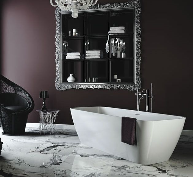 Deep purple dark plum walls product image for clearwater vicenza freestand for the bathroom Purple and black bathroom ideas