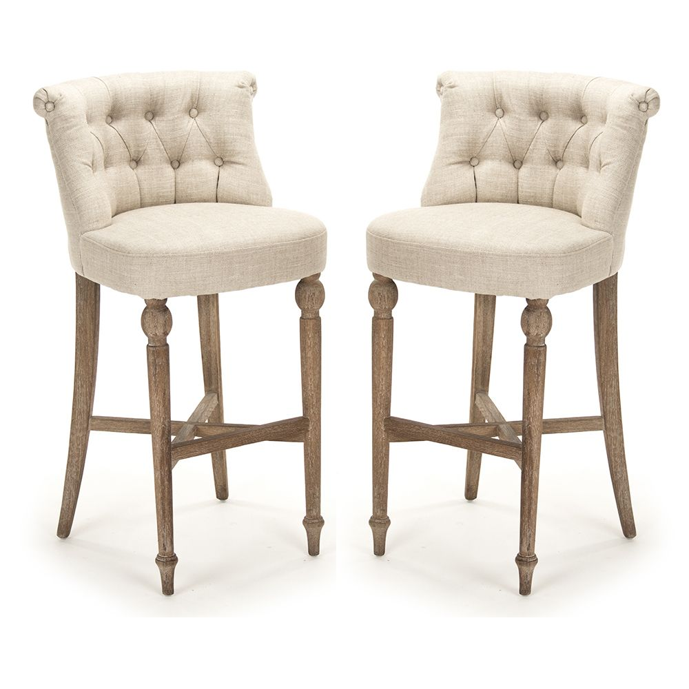 French Kitchen Stools: Cushioned French Cafe Bar Stools - Provence Chic