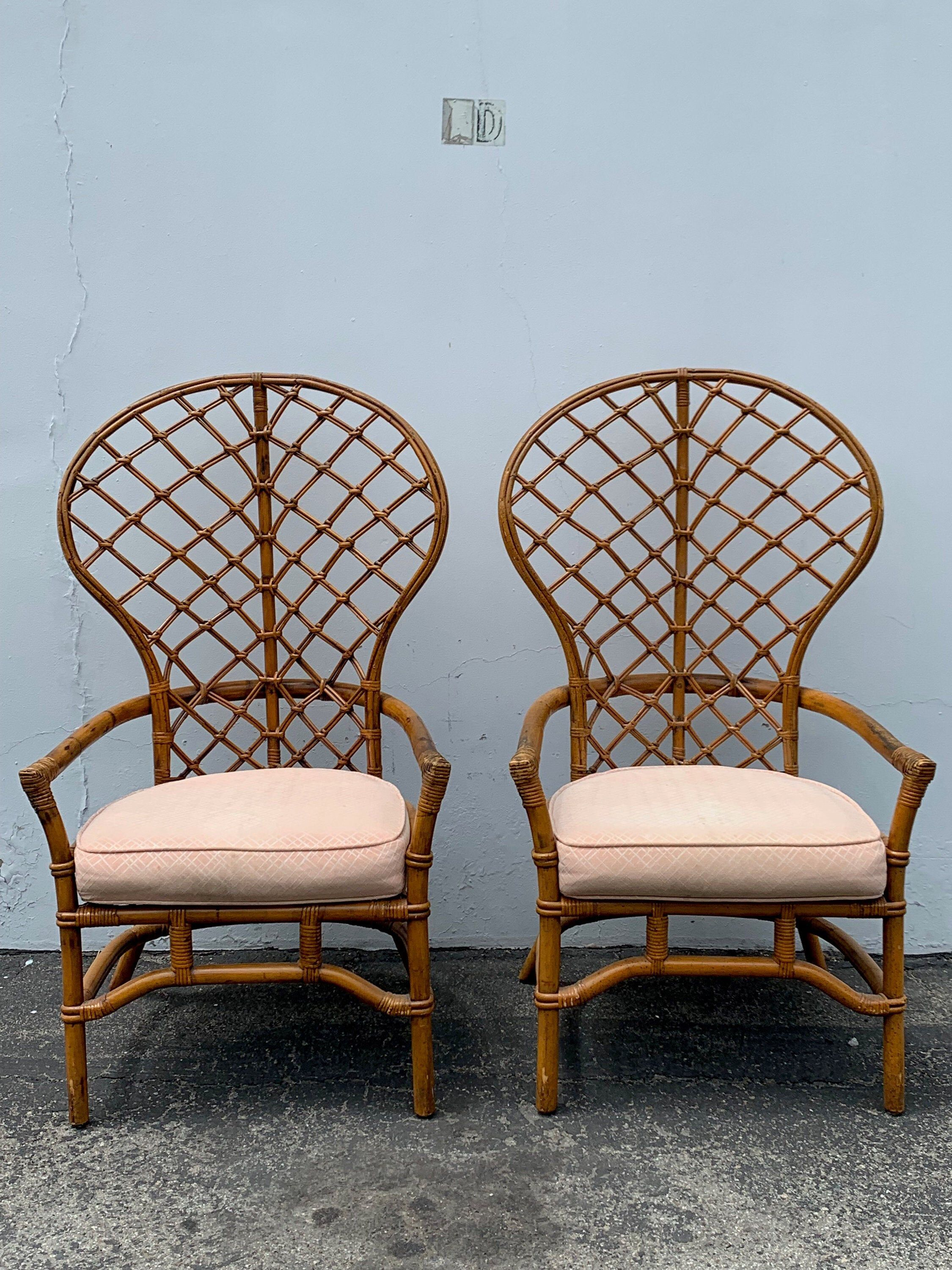 Pair Of Chairs Bamboo Set Armchair Bohemian Boho Chic