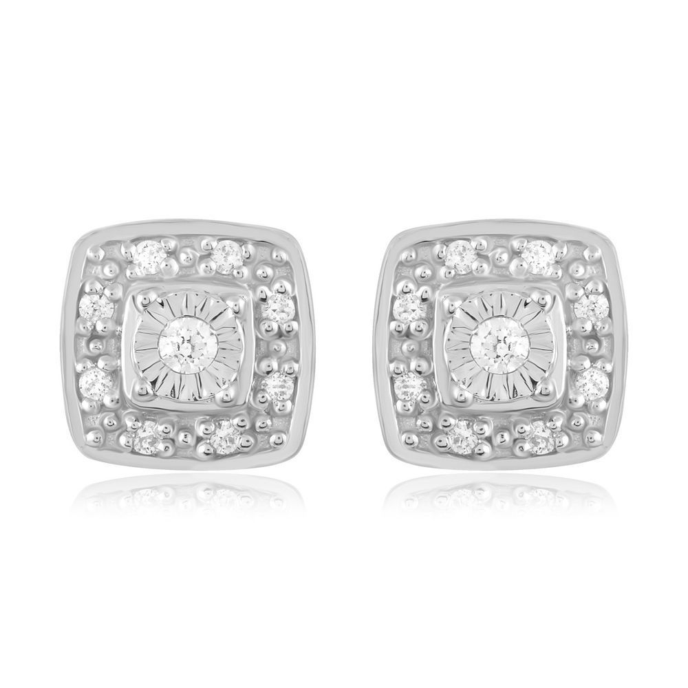 Details About Igi Certified 10k White Gold 1 10ct Tdw Diamond Cluster Stud Earrings Diamond Studs Anniversary Jewelry Diamond Jewelry
