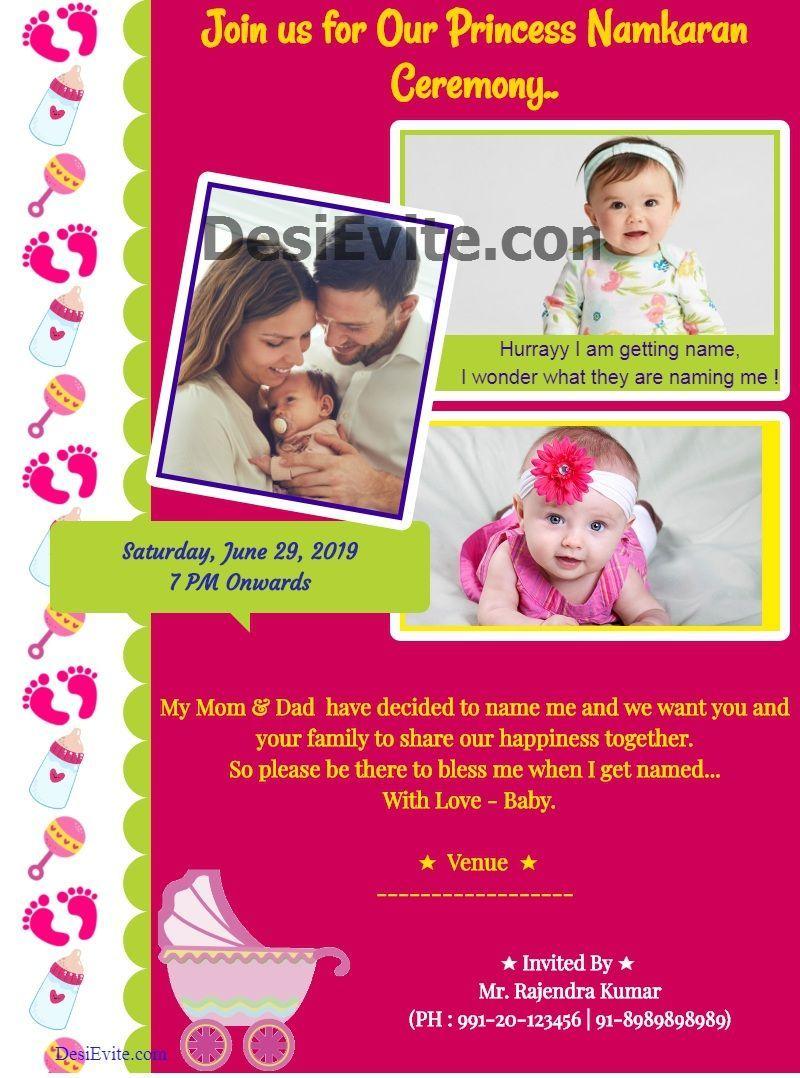 Naming Ceremony Invitation Card Baby Girl Naming Ceremony