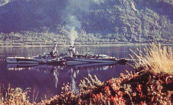 Pocket battleship Lutzow in Langsfjord, Norway.