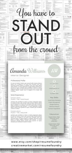 Amazing Resume Template Instant Download Use With Microsoft Word