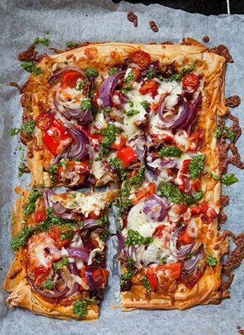 filo pastry pizza with cherry tomatoes and fresh green pesto dinner party recipes recipes food pinterest