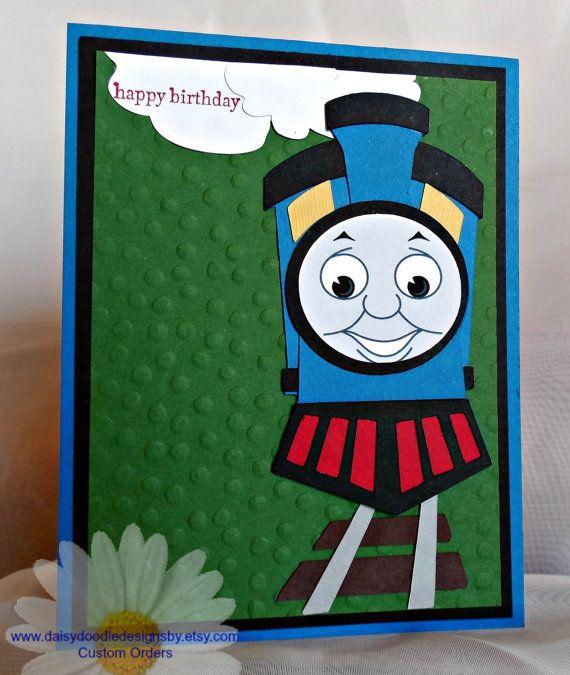 Thomas The Train Card Kids Birthday Cards Handmade Birthday Cards Punch Art Cards