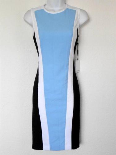 Calvin Klein Dress Size 10 Black White Blue Block Stripes Sheath