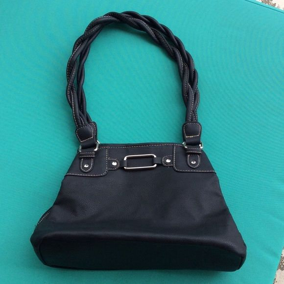 "Black heavy vegan purse Could be leather but I'm not positive so I'm saying its vegan. Never used. Nice practical professional purse. LOTS of interior space. Stitching in white trims braided straps, accented with silver hardware.  Measures 13"" wide 9"" deep with strap rise of 91/2"" Bags Shoulder Bags"