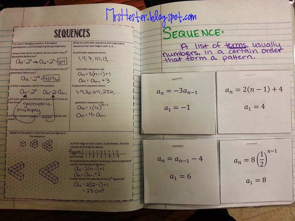 Mrs Hesters Classroomarithmetic and geometric sequences – Arithmetic Sequence Worksheet Algebra 1