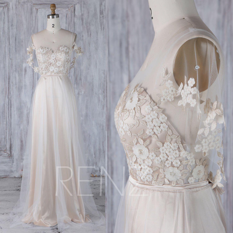 Off white tulle bridesmaid dresswedding dressruffle sleeve prom