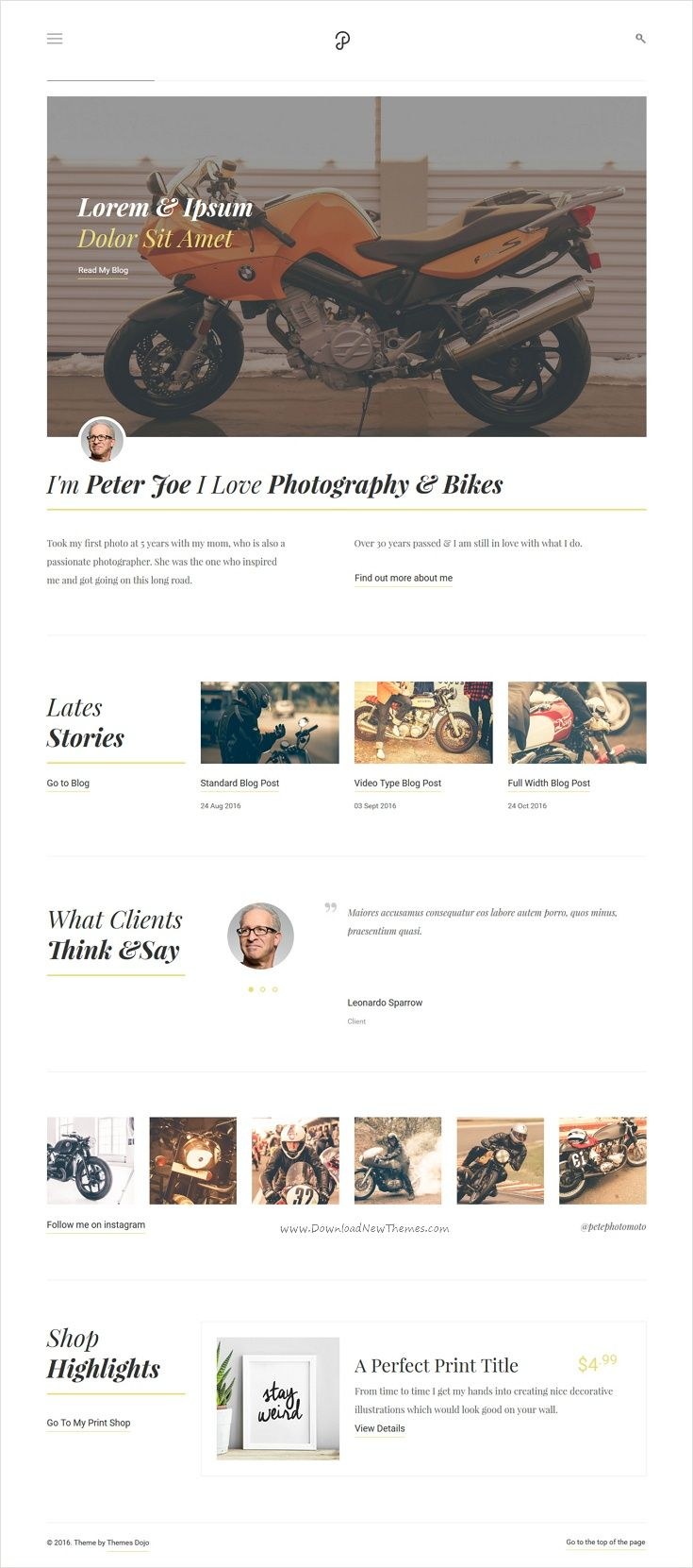 P Dojo - Photography & Portfolio Clean Minimalistic Site Template ...