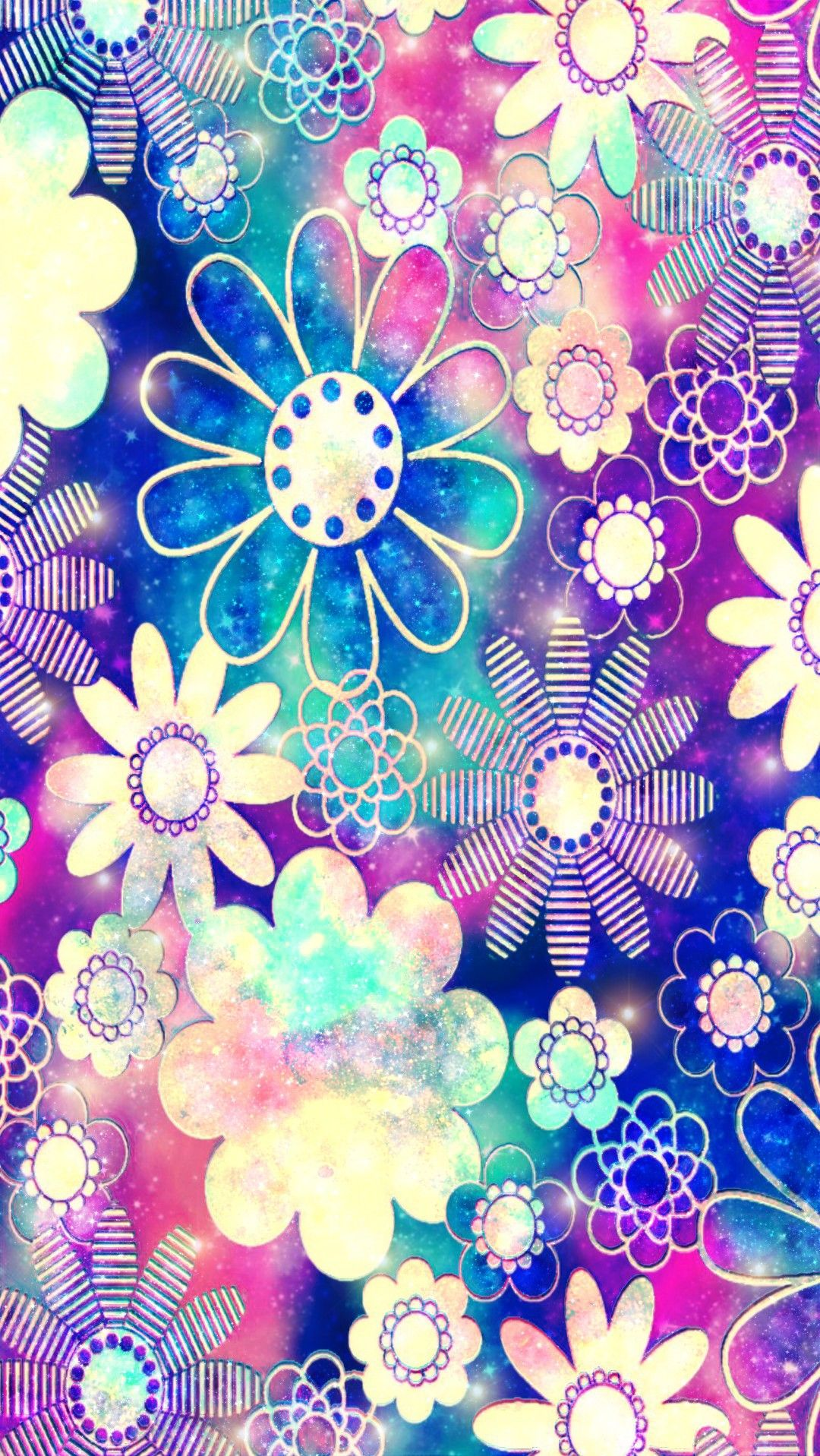 Flower Frenzy Galaxy Made By Me Patterns Colorful Glitter