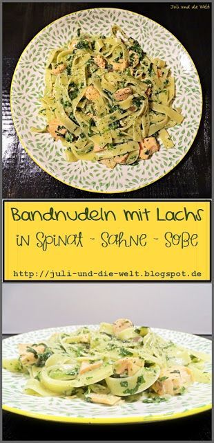 Photo of Tagliatelle with salmon in spinach – cream – sauce {quick and tasty}