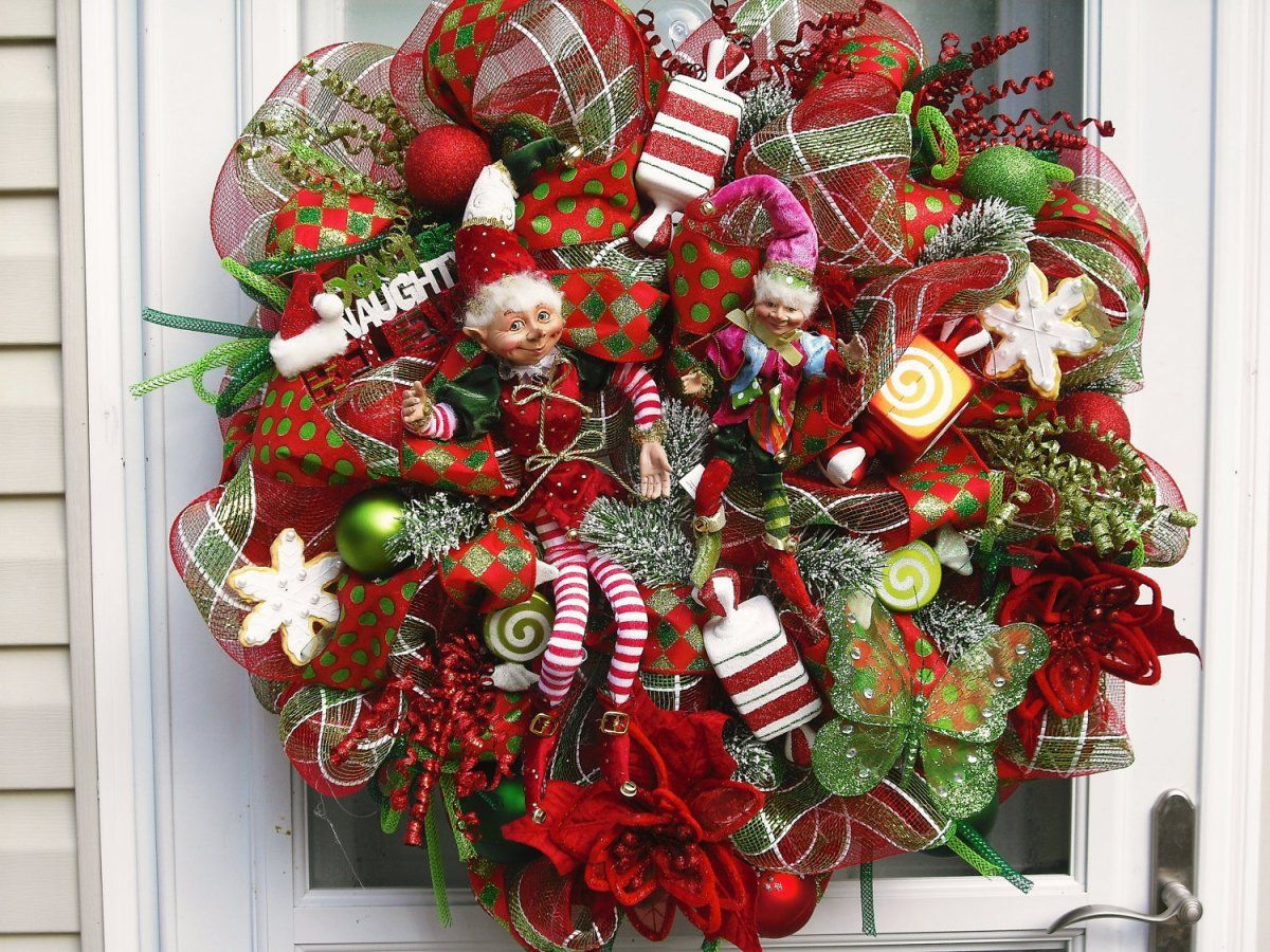 Beau Winsome Front Door Christmas Wreath Ideas Showing Surprising KBazfRfB