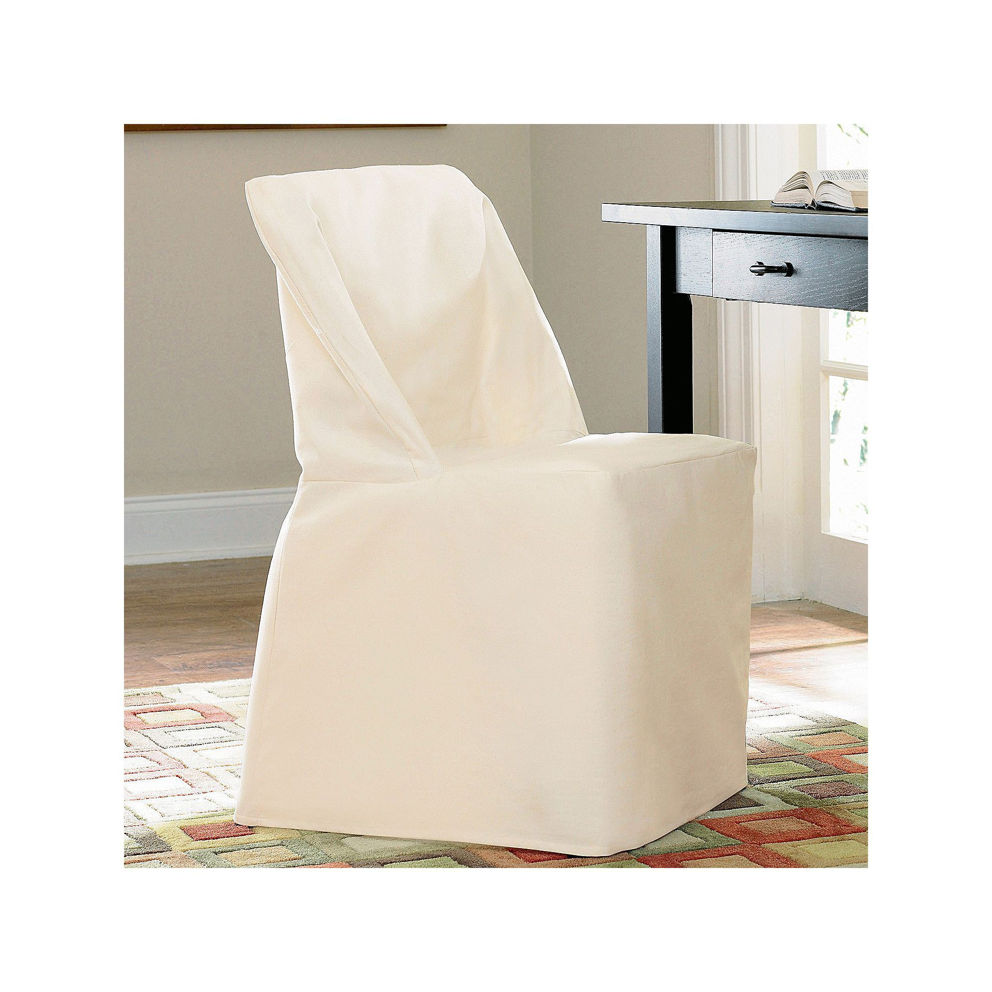 Admirable Sure Fit Solid Duck Cloth Folding Chair Slipcover White Pabps2019 Chair Design Images Pabps2019Com