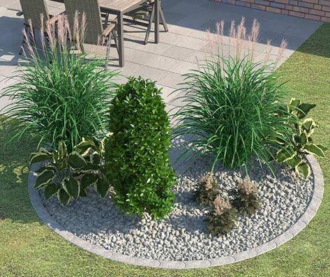 Beet ganz einfach anlegen  gestalten Garten - vorgarten gestalten mit kies und grasern