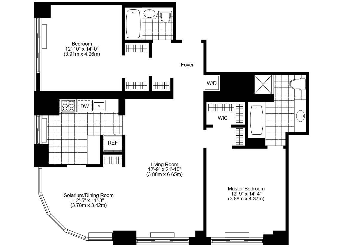 2 5 Bed 2 Bath Corner Luxury Apartment Floor Plan Apartment Floor Plan New York Apartment Rental Apartments