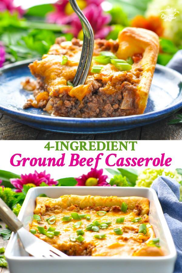 4 Ingredient Ground Beef Casserole Recipe In 2020 Beef Casserole Recipes Crescent Roll Recipes Dinner Beef Casserole
